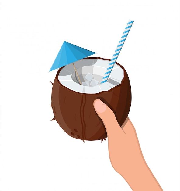 Medio coco en mano. bebida fría Vector Premium
