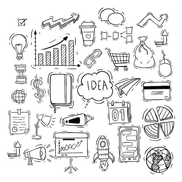Medios de comunicación social o colección de iconos de negocios con estilo doodle Vector Premium