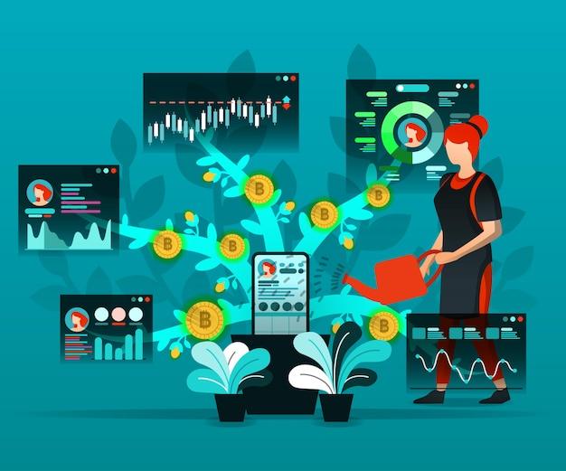 Medios sociales y tecnología financiera. Vector Premium