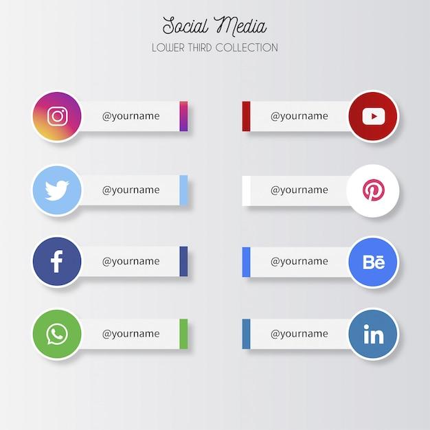 Medios sociales tercios inferiores vector gratuito