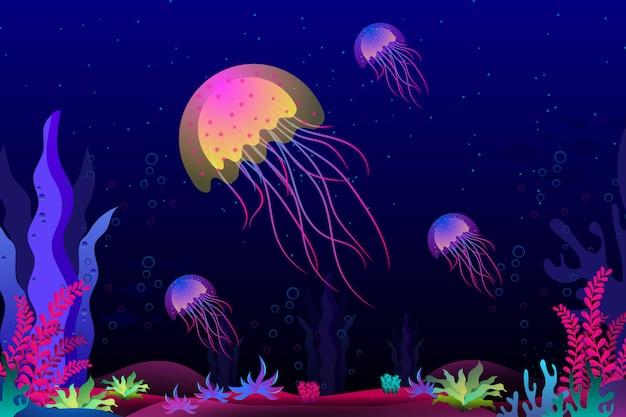 Medusas con hermoso coral bajo el mar ilustración Vector Premium