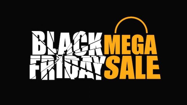 Mega banner del viernes negro Vector Premium