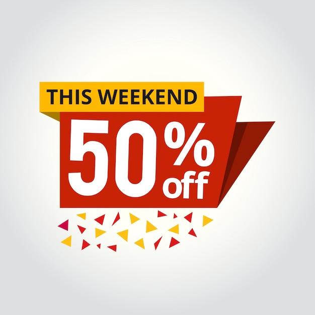 Mega oferta de super venta 50% de descuento en ilustración vectorial de banner Vector Premium