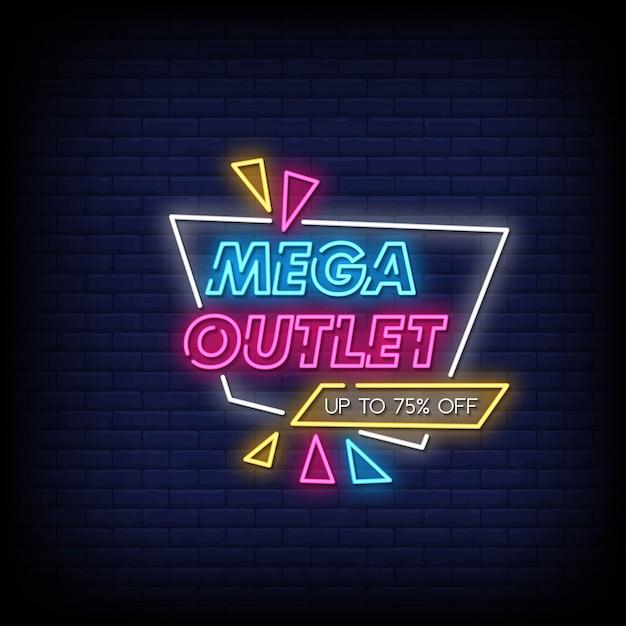 Mega outlet neon singboard Vector Premium