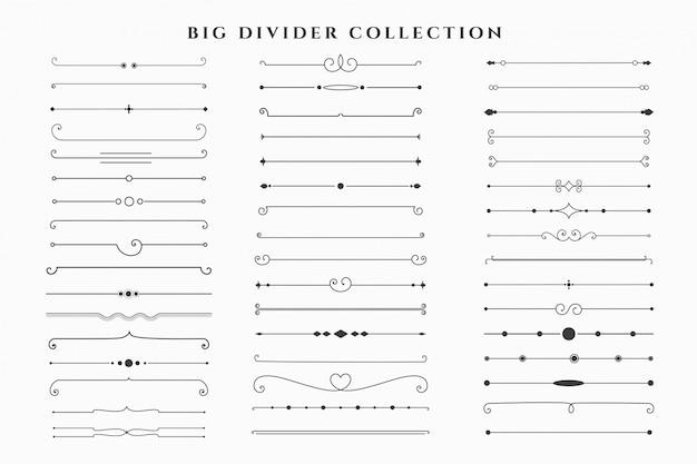 Mega set de colección de marcos de divisores florales vector gratuito