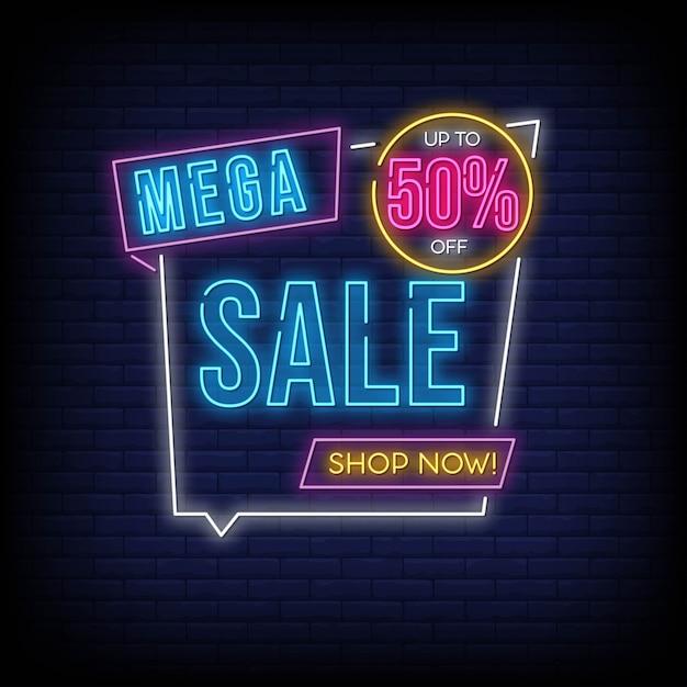 Mega venta hasta 50% de descuento en la tienda ahora en estilo neón Vector Premium
