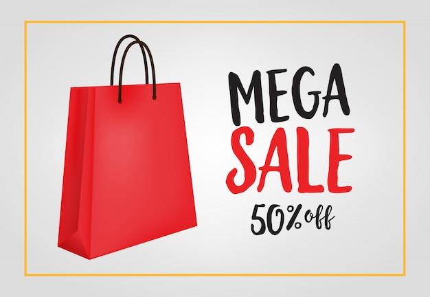 08c8d3c34 Mega venta, cincuenta por ciento de descuento en letras con bolsa de compras    Descargar Vectores gratis