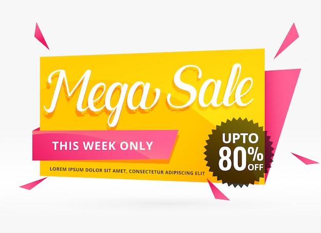 Mega venta de diseño de banner para promoción. vector gratuito