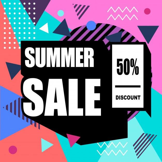 Mega venta memphis estilo web banner. descuento de moda y viajes, venta de verano Vector Premium