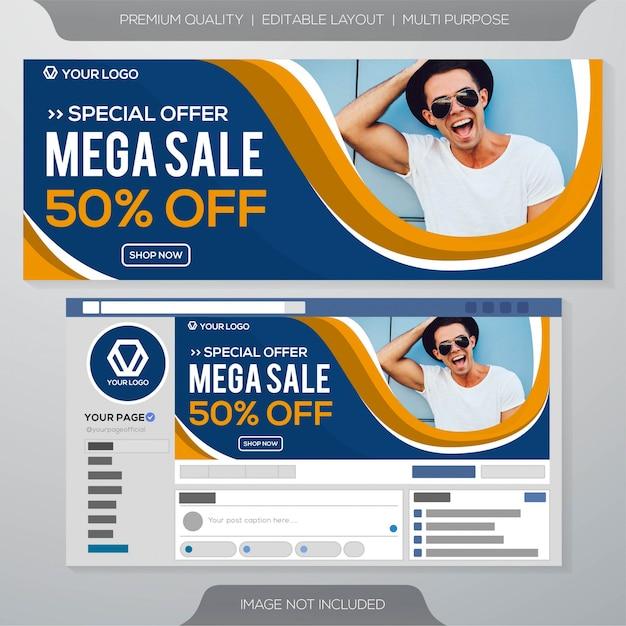 Mega venta plantilla de banner de facebook Vector Premium