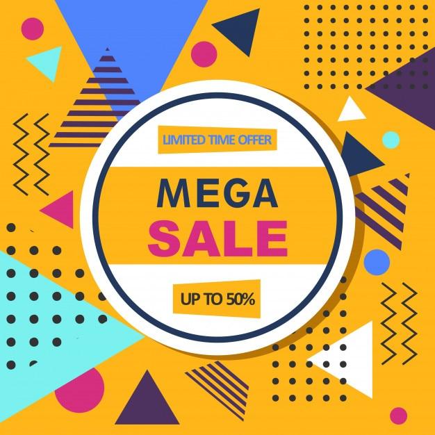 Mega venta resumen memphis estilo web banner. Vector Premium
