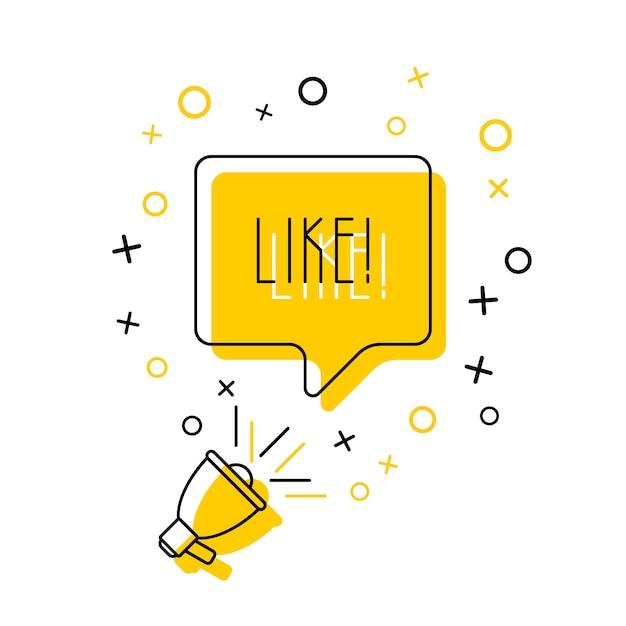 Megáfono y palabra 'me gusta' en el bocadillo en amarillo. ilustración de línea delgada plana Vector Premium
