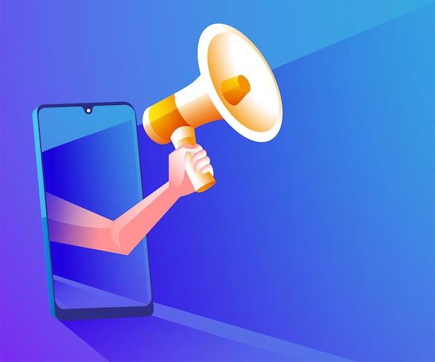 Megáfono realista con ilustración de símbolo de teléfono inteligente Vector Premium