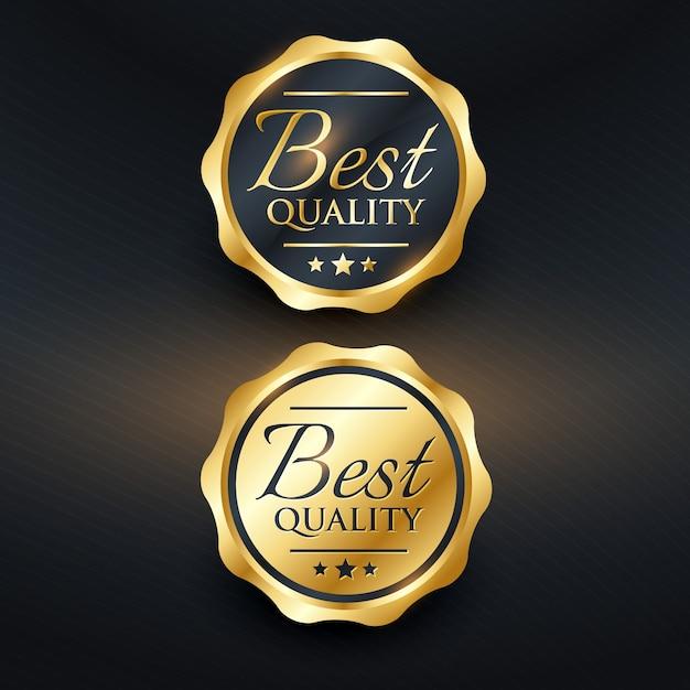 Mejor diseño de etiqueta dorada de calidad vector gratuito
