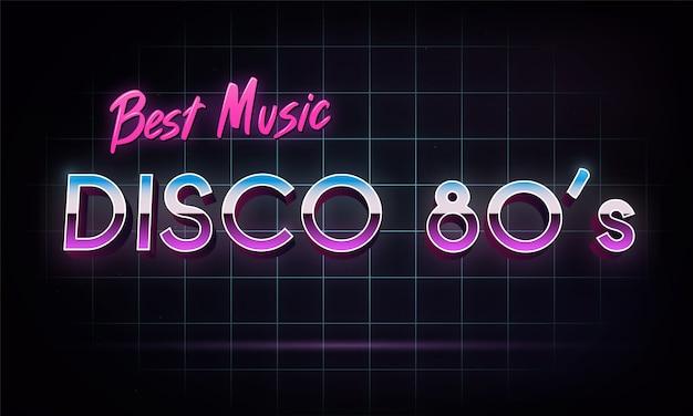 La mejor música de disco 80's - banner. Vector Premium