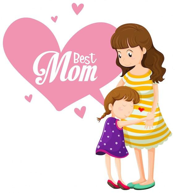 Una mejor plantilla de mamá vector gratuito