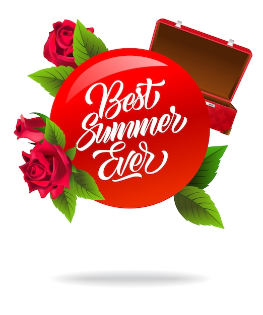 El mejor póster de verano con maleta roja abierta y rosas. vector gratuito