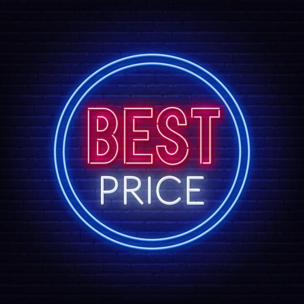 Mejor precio letrero de neón en la pared de ladrillo. Vector Premium