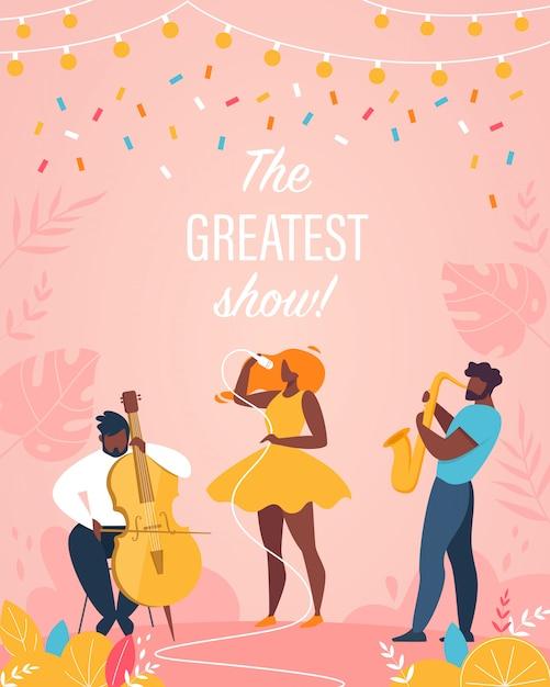 El mejor show vertical poster jazz band performing Vector Premium