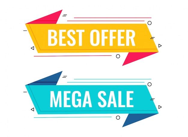 Mejor venta y oferta conjunto de banners de memphis vector gratuito