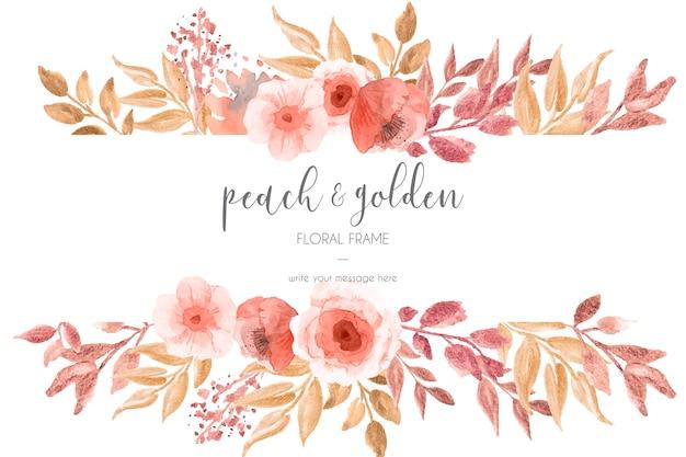 Melocotón y marco floral dorado vector gratuito
