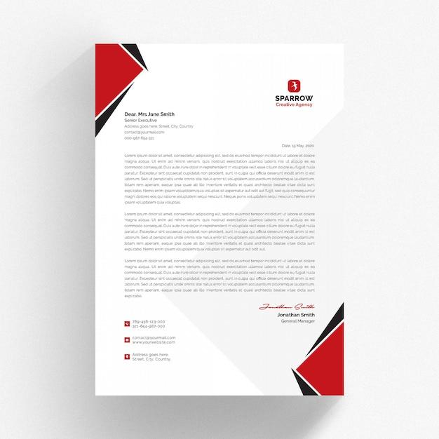 Membrete blanco y plantilla de cv con detalles en rojo y negro Vector Premium