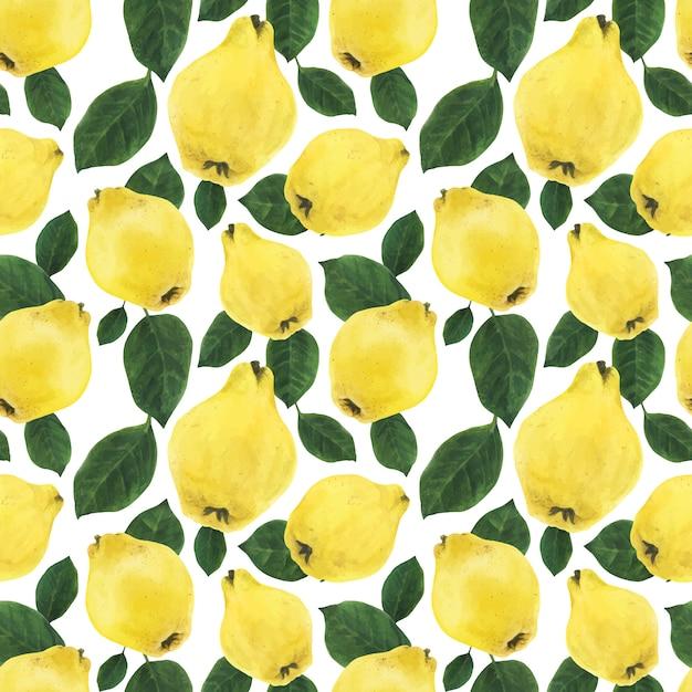 Membrillo amarillo frutas y hojas verdes de patrones sin fisuras Vector Premium