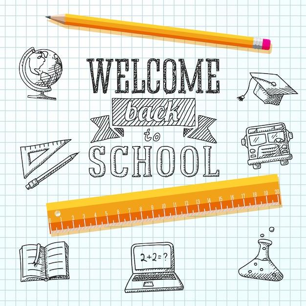 Mensaje de bienvenida a la escuela en papel. con dibujos: globo, cuaderno, libro de texto, gorra de graduación, autobús, bombilla de ciencias, lápiz, regla. Vector Premium