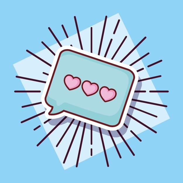 Mensaje Burbuja Amor Corazones Dibujos Animados Estilo Descargar