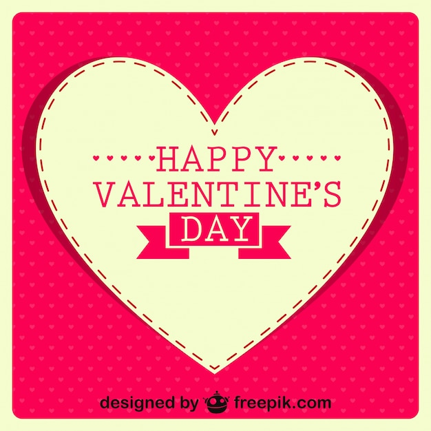 Mensaje De Feliz Día De San Valentín En Corazón Retro Vector Gratis