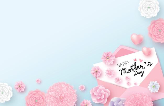 Mensaje del día de la madre feliz en papel blanco Vector Premium