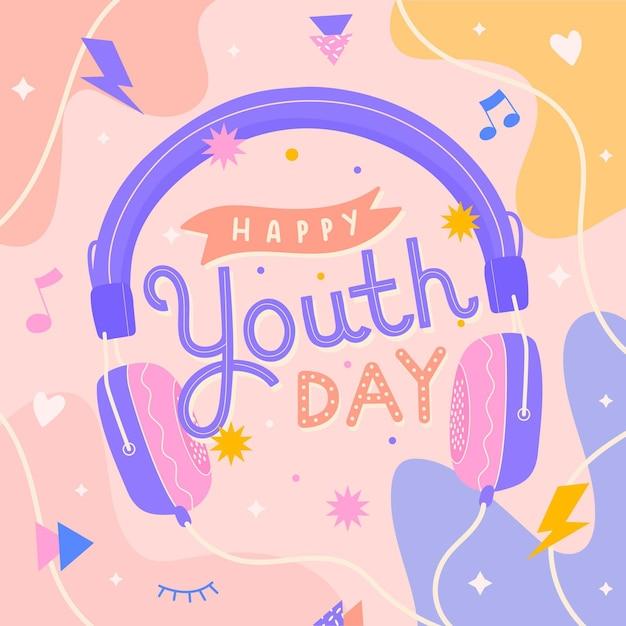 Mensaje ilustrado del día de la juventud con elementos lindos vector gratuito