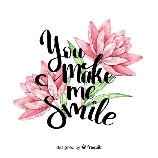 Mensaje romántico con flores: me haces sonreír vector gratuito