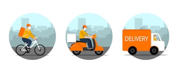 Mensajero de entrega conduciendo bicicleta, bicicleta, coche en cuarentena. Vector Premium