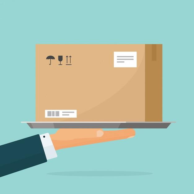 Mensajero entregar paquete caja ilustración plana dibujos animados Vector Premium