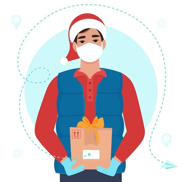 Mensajero en uniforme cálido y gorro de papá noel y máscara médica. ilustración plana Vector Premium