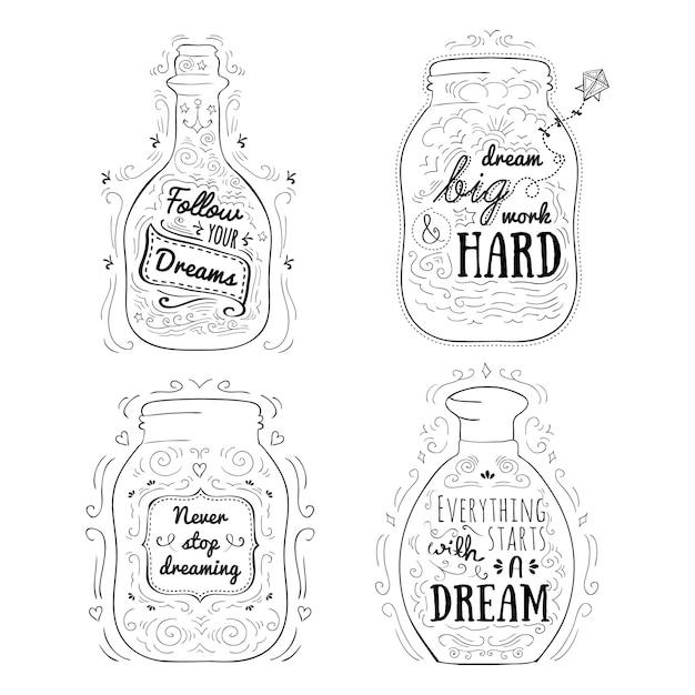 Mensajes positivos en frascos. vector gratuito