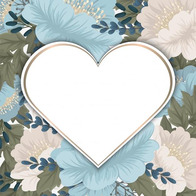 Menta verde floral fondo flor frontera vector gratuito