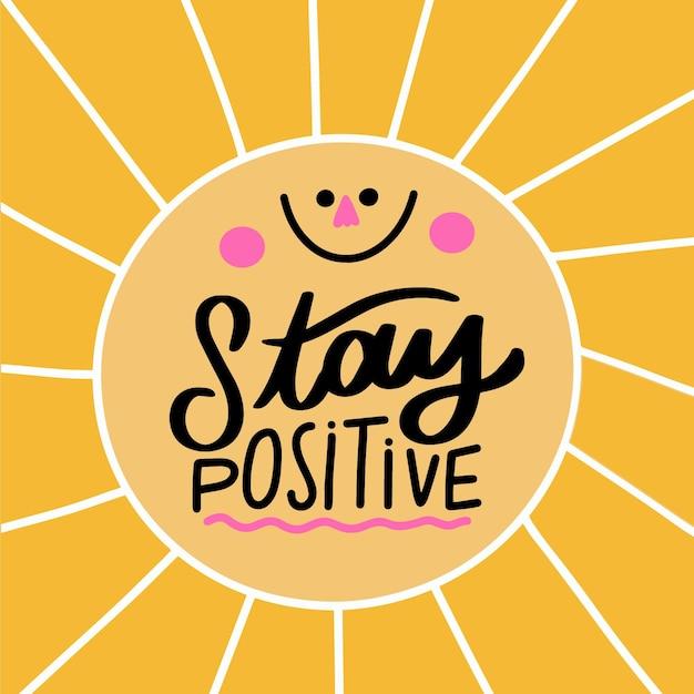 Mente positiva letras con sol sonriente Vector Premium