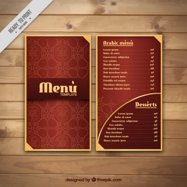 Menú árabe elegante con detalles de oro vector gratuito