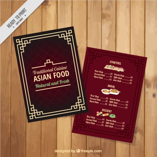 Menú asiático rojo con un marco | Descargar Vectores gratis