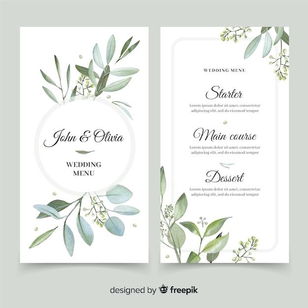 Menú de boda con diseño de follaje vector gratuito