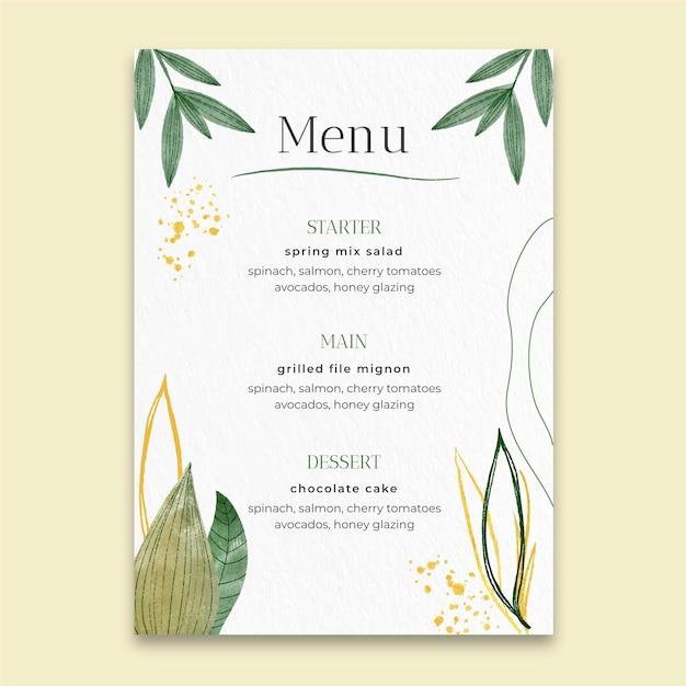Menú de boda mínimo Vector Premium