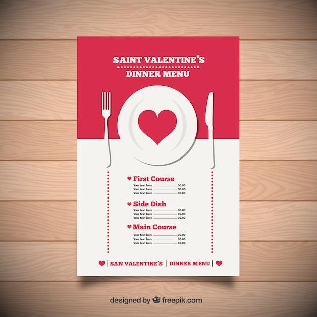 Menú De Cena De San Valentín Vector Gratis