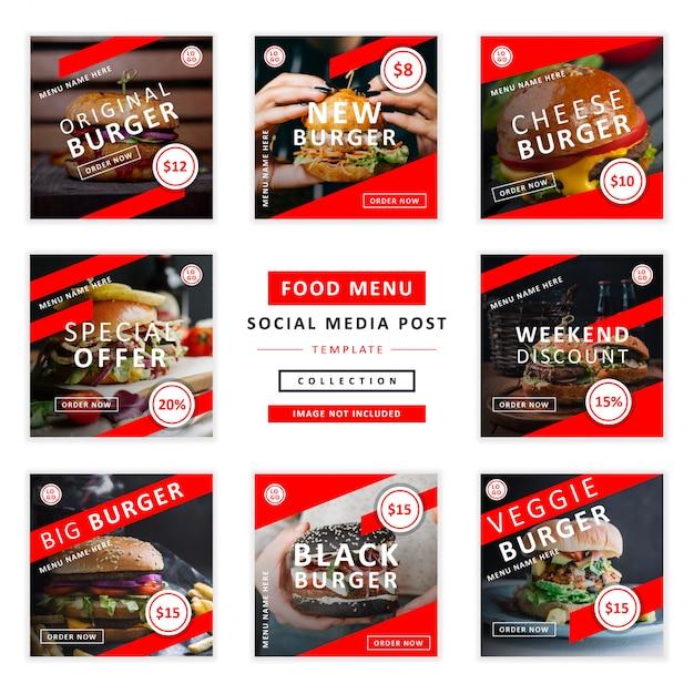 Menú de comida colección de plantillas de medios sociales Vector Premium