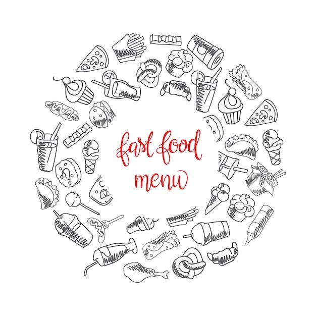 Menú de comida rápida. conjunto de iconos en el fondo. papas fritas, hamburguesa, papas fritas vector gratuito
