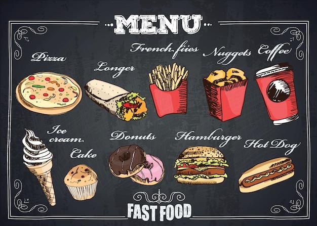 Menú de comida rápida. Vector Premium
