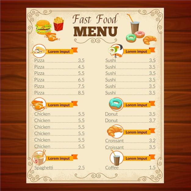 Menú de comida rápida vector gratuito