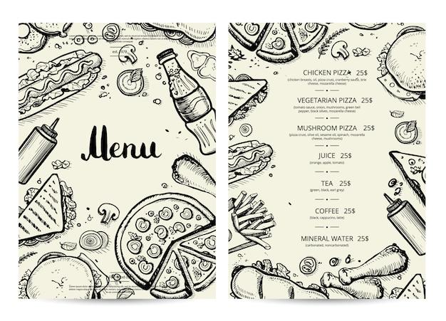 Menú de comidas y bebidas con precios. Vector Premium