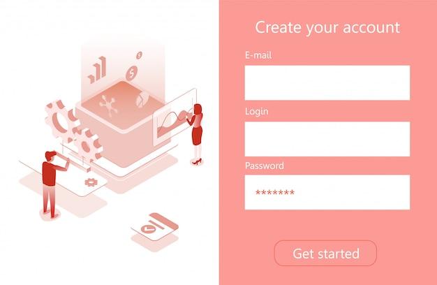 Menú de cuenta página isométrica para empresas Vector Premium